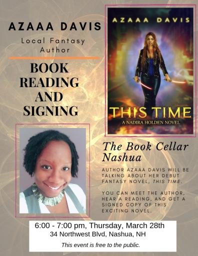 This Time Book Reading and Signing at The Book Cellar in Nashua, NH o 3/28/19 at 6pm.